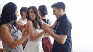 Salsa couple dancing